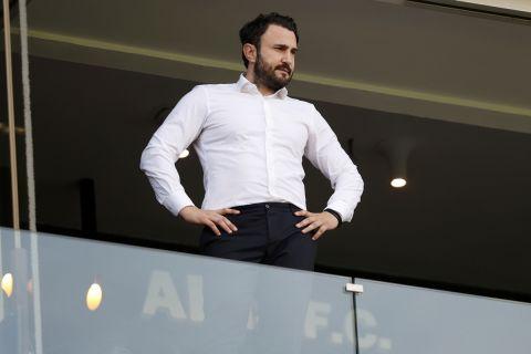Ο Θοδωρής Καρυπίδης στις εξέδρες του Κλεάνθης Βικελίδης σε ματς του Άρη με τον Ολυμπιακό για τα play offs της Super League Interwetten | 5 Μαΐου 2021