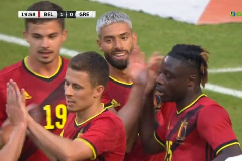 Οι παίκτες του Βελγίου πανηγυρίζουν το 1-0 επί της Ελλάδας /3-6-2021