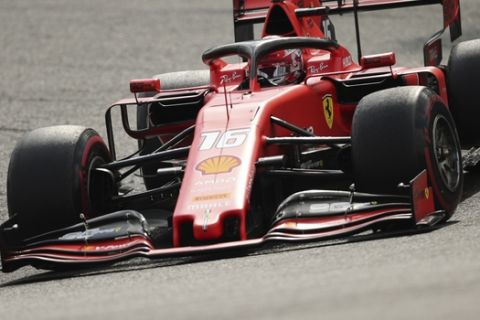 Ferrari driver Charles Leclerc of Monaco steers his car during the Belgian Formula One Grand Prix in Spa-Francorchamps, Belgium, Sunday, Sept. 1, 2019. (AP Photo/Francisco Seco)