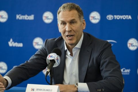 Philadelphia 76ers President of Basketball Operations Bryan Colangelo speaks with members of the media during a news conference at the NBA basketball team's practice facility in Camden, N.J., Friday, May 11, 2018. (AP Photo/Matt Rourke)