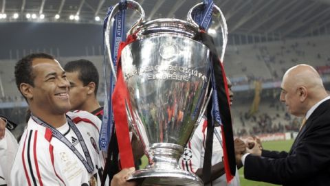 AC Milan's Cafu celebrates with the trophy at the end of the Champions League Final soccer match between AC Milan and Liverpool at the Olympic Stadium in Athens Wednesday May 23, 2007. Milan won 2-1. (AP Photo/Murad Sezer)