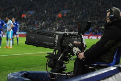 TV camera during the English Premier League soccer match between Leicester City and Newcastle United at the King Power Stadium in Leicester, England, Monday, March 14, 2016. (AP Photo/Rui Vieira)