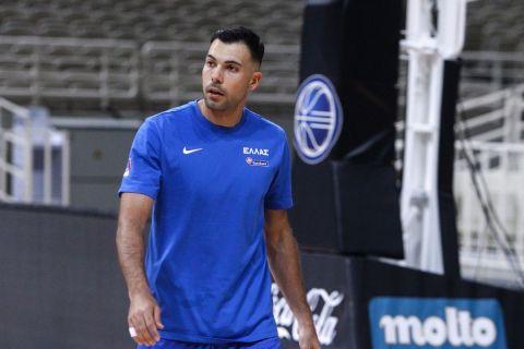 Ο Κώστας Σλούκας σε προπόνηση της Εθνικής Ανδρών