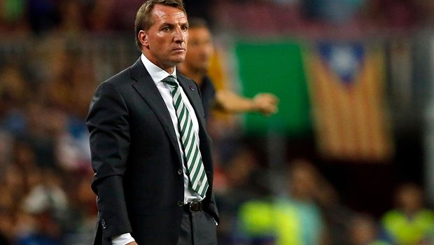 Celtic's manager Brendan Rodgers watches a Champions League, Group C soccer match between Barcelona and Celtic, at the Camp Nou stadium in Barcelona, Spain, Tuesday, Sept. 13, 2016. (AP Photo/Manu Fernandez)