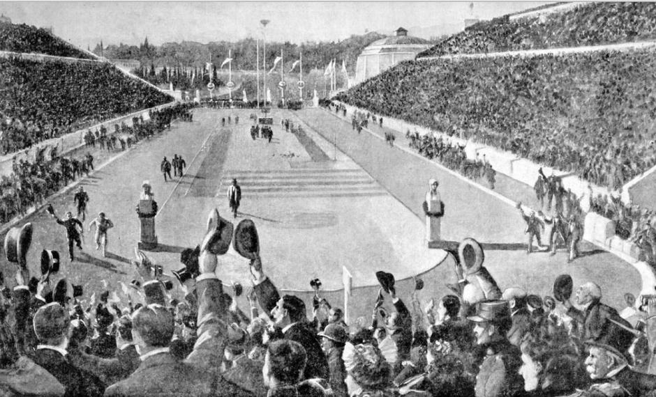 Αποτέλεσμα εικόνας για Η ιστορία του Μαραθωνίου Δρόμου Η είσοδος του Λούη στο Ολυμπιακό στάδιο, το 1896