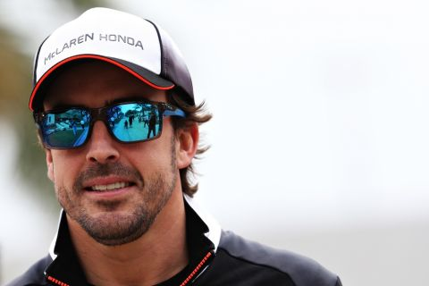 SAKHIR, BAHRAIN - MARCH 31: Fernando Alonso of Spain and McLaren Honda in the Paddock during previews ahead of the Bahrain Formula One Grand Prix at Bahrain International Circuit on March 31, 2016 in Sakhir, Bahrain.  (Photo by Mark Thompson/Getty Images)