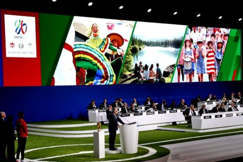 Decio de Maria, President of the Football Association of Mexico, presents a joint United bid by Canada, Mexico and the United States to host the 2026 World Cup at the FIFA congress in Moscow, Russia, Wednesday, June 13, 2018. (AP Photo/Pavel Golovkin)
