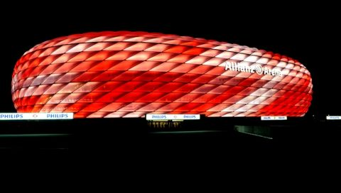 IMAGE DISTRIBUTED FOR PHILIPS - In this image released on Thursday, Aug 13, 2015, FC Bayern Munich kick off the new season with a colorful display both on and off the pitch as the Allianz Arena gets a facelift with cutting-edge LED technology from Royal Philips, the global leader in lighting. Its distinctive inflatable outer membrane can now be lit with a palette of 16 million different colors as opposed to the previous red, white and blue. More than 300,00 LEDs, were fitted which would cover 7,5 km if strung together and have a life-span of 80,00 hours-the equivalent of 53,000 league matches which in turn save 60% less electricity and cut CO2 emissions by approximately 362 tons per year. Fans will be treated to the spectacle at the teams season opener against Hamburger SV. Images and press release available at http://www.apassignments.com/multimedia-newsroom#fc-bayern-munich-make-glowing-start-to-season. (Christoph Mukherjee/AP Images for Philips)