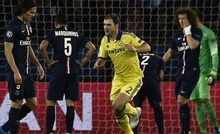 Chelsea's Serbian defender Branislav Ivanovic (C) celebrates after scoring a goal during the UEFA Champions League round of 16 football match between Paris Saint-Germain (PSG) and Chelsea at the Parc des Princes stadium in Paris on February 17, 2015. AFP PHOTO / FRANCK FIFE        (Photo credit should read FRANCK FIFE/AFP/Getty Images)