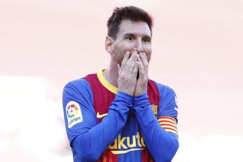 Ο Λιονέλ Μέσι αντιδρά σε χαμένο γκολ κόντρα στην Ατλέτικο Μαδρίτης στο ισπανικό πρωτάθλημα στο Καμπ Νόου