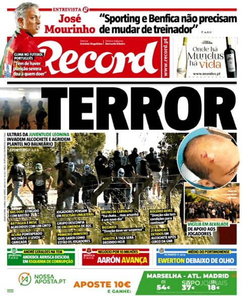 """""""Μαύρα"""" πορτογαλικά πρωτοσέλιδα για την επίθεση στους παίκτες της Σπόρτινγκ"""