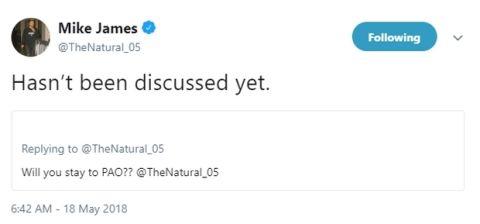 """Τζέιμς: """"Δεν έχουμε μιλήσει ακόμη για το συμβόλαιό μου"""""""
