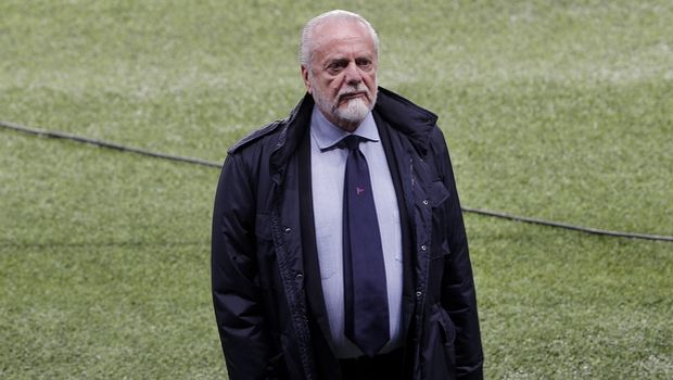Napoli soccer club president Aurelio De Laurentis stands on the pitch during a training session, at the Parc des Princes stadium in Paris, Tuesday, Oct. 23, 2018. PSG will play against Napoli in a Champions League group C Champions League soccer match on Wednesday. (AP Photo/Thibault Camus)
