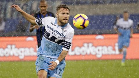 Lazio's Ciro Immobile controls the ball during a Serie A soccer match between Lazio and Inter Milan, at Rome's Olympic stadium, Monday, Oct. 29, 2018. (AP Photo/Alessandra Tarantino)