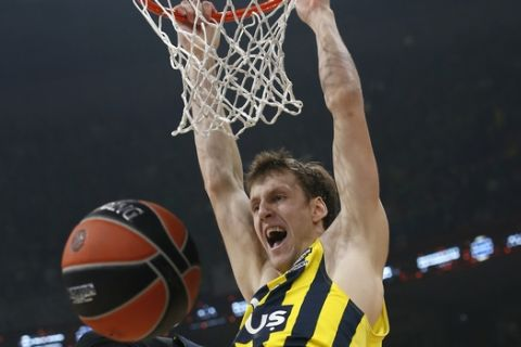 Fenerbahce's Jan Vesely reacts after scoring during the Final Four Euroleague semifinal basketball match against Zalgiris in Belgrade, Serbia, Friday, May 18, 2018. (AP Photo/Darko Vojinovic)