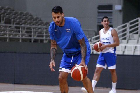 Ο Γιώργος Πρίντεζης σε προπόνηση της Εθνικής Ανδρών