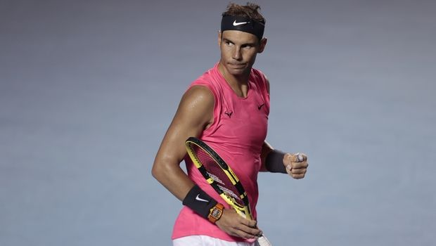 Spain's Rafael Nadal pumps his fist as he defeats Spain's Pablo Andujar in the opening round of the Mexican Open tennis tournament in Acapulco, Mexico, Tuesday, Feb. 25, 2020. (AP Photo/Rebecca Blackwell)