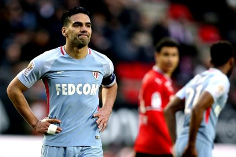 Monaco's Radamel Falcao reacts during his French League One soccer match against Rennes, in Rennes, western France, Wednesday, April 4, 2018.(AP Photo/David Vincent)