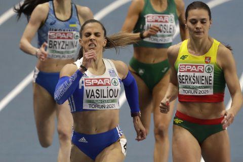 Greece's Irini Vasiliou leads a group of athletes during their heat of the women's 400 meters event at the Poland European Indoor Athletics Championships in Torun, Poland, Friday, March 5, 2021. (AP Photo/Czarek Sokolowski)