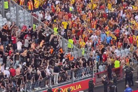 Στιγμιότυπο από επεισόδια μεταξύ οπαδών της Λανς και της Λιλ | 17 Σεπτεμβρίου 2021