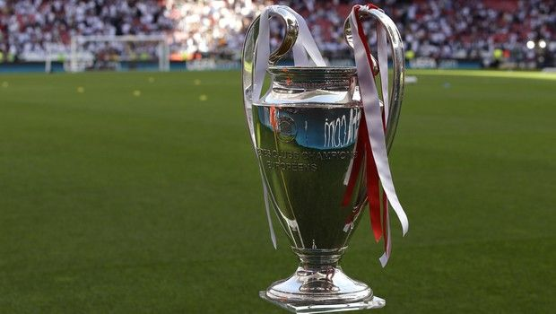 A view of the Champions League trophy, prior to the start of the Champions League final soccer match between Atletico Madrid and Real Madrid, at the Luz stadium, in Lisbon, Portugal, Saturday, May 24, 2014. (AP Photo/Francisco Seco)