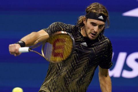Ο Στέφανος Τσιτσιπάς στο ματς με τον Μαναρινό στο US Open