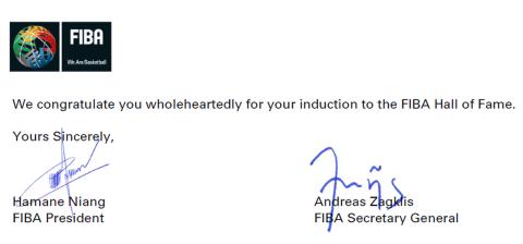 Το γράμμα της FIBA στον Παναγιώτη Γιαννάκη για την είσοδό του στο Hall of Fame