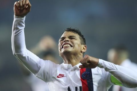 PSG's Thiago Silva jubilates after his side scored during a Champions League Group A soccer match between Club Brugge and Paris Saint Germain at the Jan Breydel stadium in Bruges, Belgium, Tuesday, Oct. 22, 2019. (AP Photo/Francisco Seco)