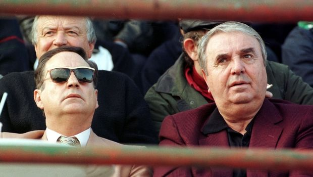 Ο ιδιοκτήτης του Πανηλειακού, Σάκης Σταυρόπουλος με τον Αντώνη Γεωργιάδη