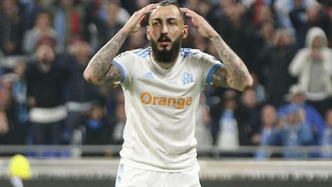 Marseille's Konstantinos Mitroglou reacts during the Europa League Final soccer match between Marseille and Atletico Madrid at the Stade de Lyon in Decines, outside Lyon, France, Wednesday, May 16, 2018. (AP Photo/Thibault Camus)