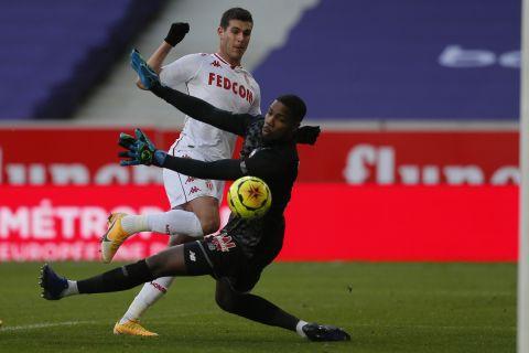 Ο Πελέγκρι σκοράρει στο παιχνίδι της Μονακό κόντρα στη Λιλ τον Δεκέμβριο του 2020.