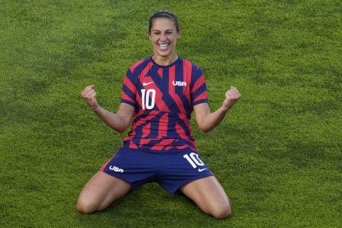 Η Κάρλι Λόιντ των ΗΠΑ πανηγυρίζει γκολ που σημείωσε κόντρα στην Αυστραλία στον μικρό τελικό του τουρνουά ποδοσφαίρου γυναικών στους Ολυμπιακούς Αγώνες 2020, Κασίμα   Πέμπτη 5 Αυγούστου 2021