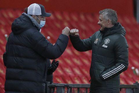 Οι Όλε Γκούναρ Σόλσκιερ και Γιούργκεν Κλοπ σε ντέρμπι της Μάντσεστερ Γουνάιτεντ με την Λίβερπουλ για το FA Cup   24 Ιανουαρίου 2021