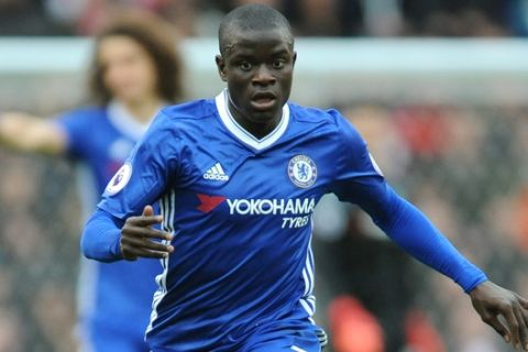 Chelseas Ngolo Kante during the English Premier League soccer match between Stoke City and Chelsea at the Britannia Stadium, Stoke on Trent, England, Saturday, March 18, 2017. (AP Photo/Rui Vieira)