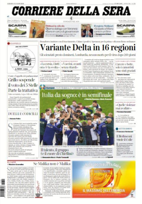 Το πρωτοσέλιδο της Corriere Della Sera
