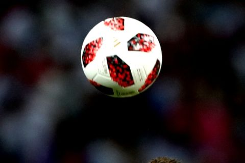 Croatia's Ivan Perisic jumps for the ball during the quarterfinal match between Russia and Croatia at the 2018 soccer World Cup in the Fisht Stadium, in Sochi, Russia, Saturday, July 7, 2018. (AP Photo/Rebecca Blackwell)