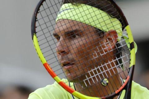 Spain's Rafael Nadal waits to returns a shot against Austria's Dominic Thiem during the men's final match of the French Open tennis tournament at the Roland Garros stadium in Paris, Sunday, June 9, 2019. (AP Photo/Michel Euler)