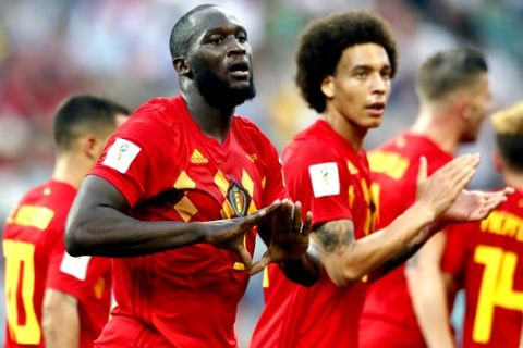 Belgium's Romelu Lukaku celebrates after he scored his side's second goal during the group G match between Belgium and Panama at the 2018 soccer World Cup in the Fisht Stadium in Sochi, Russia, Monday, June 18, 2018. (AP Photo/Matthias Schrader)