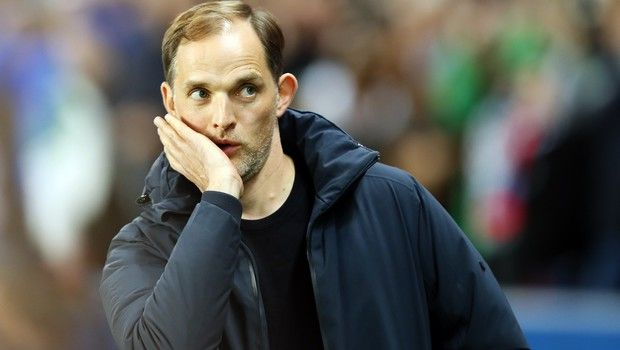 PSG coach Thomas Tuchel looks on ahead of the French League One soccer match between Paris-Saint-Germain and Strasbourg at the Parc des Princes stadium in Paris, France, Sunday, April 7, 2019. (AP Photo/Francois Mori)