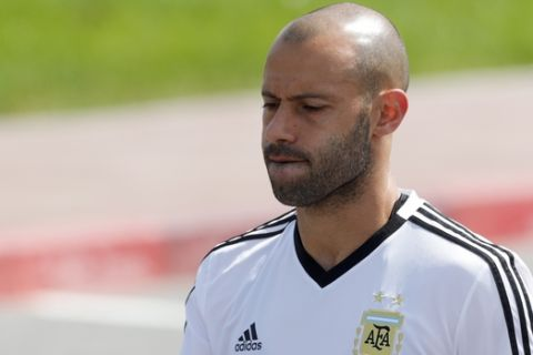 Javier Mascherano arrives for a training session of Argentina at the 2018 soccer World Cup in Bronnitsy, Russia, Sunday, June 24, 2018. (AP Photo/Ricardo Mazalan)