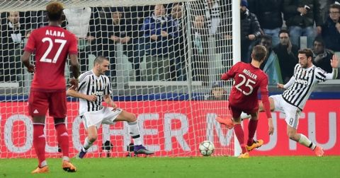 Bayern Munich's German midfielder Thomas Mueller (2nd-R) scores a goal during the UEFA Champions League round of 16 first leg football match between Juventus and Bayern Munich at the Juventus Stadium in Turin on February 23, 2016.   AFP PHOTO / GIUSEPPE CACACE / AFP / GIUSEPPE CACACE        (Photo credit should read GIUSEPPE CACACE/AFP/Getty Images)