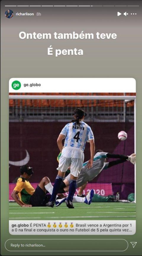 Το ειρωνικό πόστ του Ρισάρλισον για την Αργεντινή με αναφορά στον αγώνα ποδοσφαίρου τυφλών των δύο ομάδων
