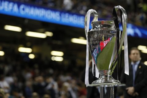 The trophy is displayed ahead of the Champions League final soccer match between Juventus and Real Madrid at the Millennium Stadium in Cardiff, Wales, Saturday June 3, 2017. (AP Photo/Kirsty Wigglesworth)