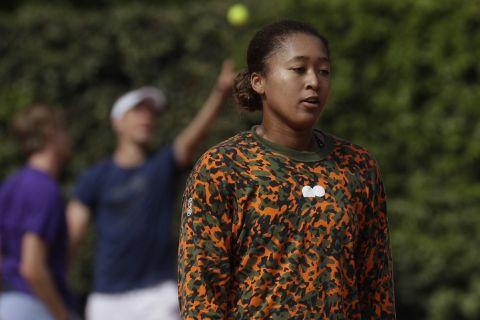 Η Ναόμι Οζάκα σε στιγμή προπόνησης στο Italian Open τον Μάιο του 2021
