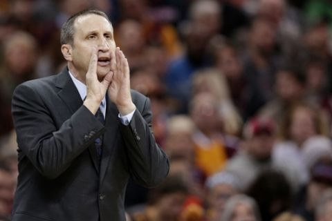 Cleveland Cavaliers head coach David Blatt yells to players in the first half of an NBA basketball game against the Orlando Magic, Saturday, Jan. 2, 2016, in Cleveland. (AP Photo/Tony Dejak)