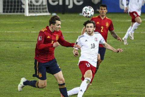 O Ντιέγκο Γιορέντε με τη φανέλα της εθνικής Ισπανίας σε ματς των προκριματικών του Παγκοσμίου Κυπέλλου 2022 κόντρα στην Γεωργία (28 Μαρτίου 2021)