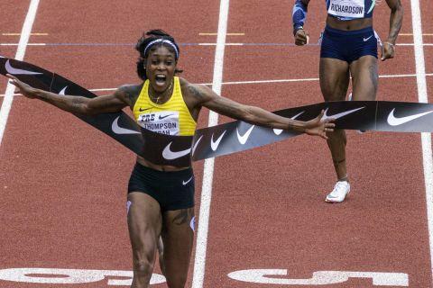 Η Ελέιν Τόμπσον-Έρα κόβει πρώτη το νήμα στην κούρσα των 100μ. στο Γιουτζίν με τη δεύτερη καλύτερη επίδοση όλων των εποχών