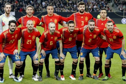 Spanish national soccer team during a friendly soccer match between Germany and Spain in Duesseldorf, Germany, Friday, March 23, 2018. (AP Photo/Michael Probst)