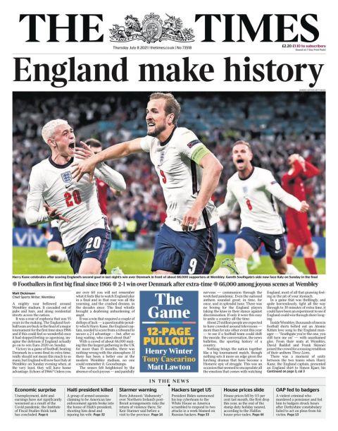 Euro 2020: Τα αγγλικά πρωτοσέλιδα για την πρόκριση
