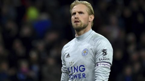 Leicester's goalkeeper Kasper Schmeichel is seen during the English Premier League soccer match between Wolverhampton Wanderers and Leicester City at the Molineux Stadium in Wolverhampton, England, Friday, Feb. 14, 2020. (AP Photo/Rui Vieira)